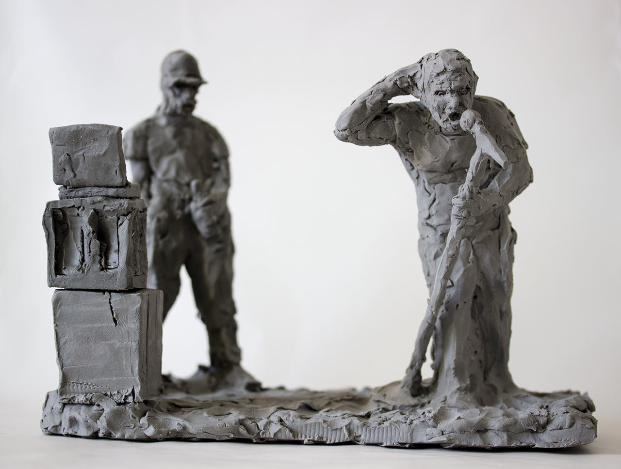 Sleaford Mods 2020 – 19 x 17 x 25cm, plasticine original for future casts