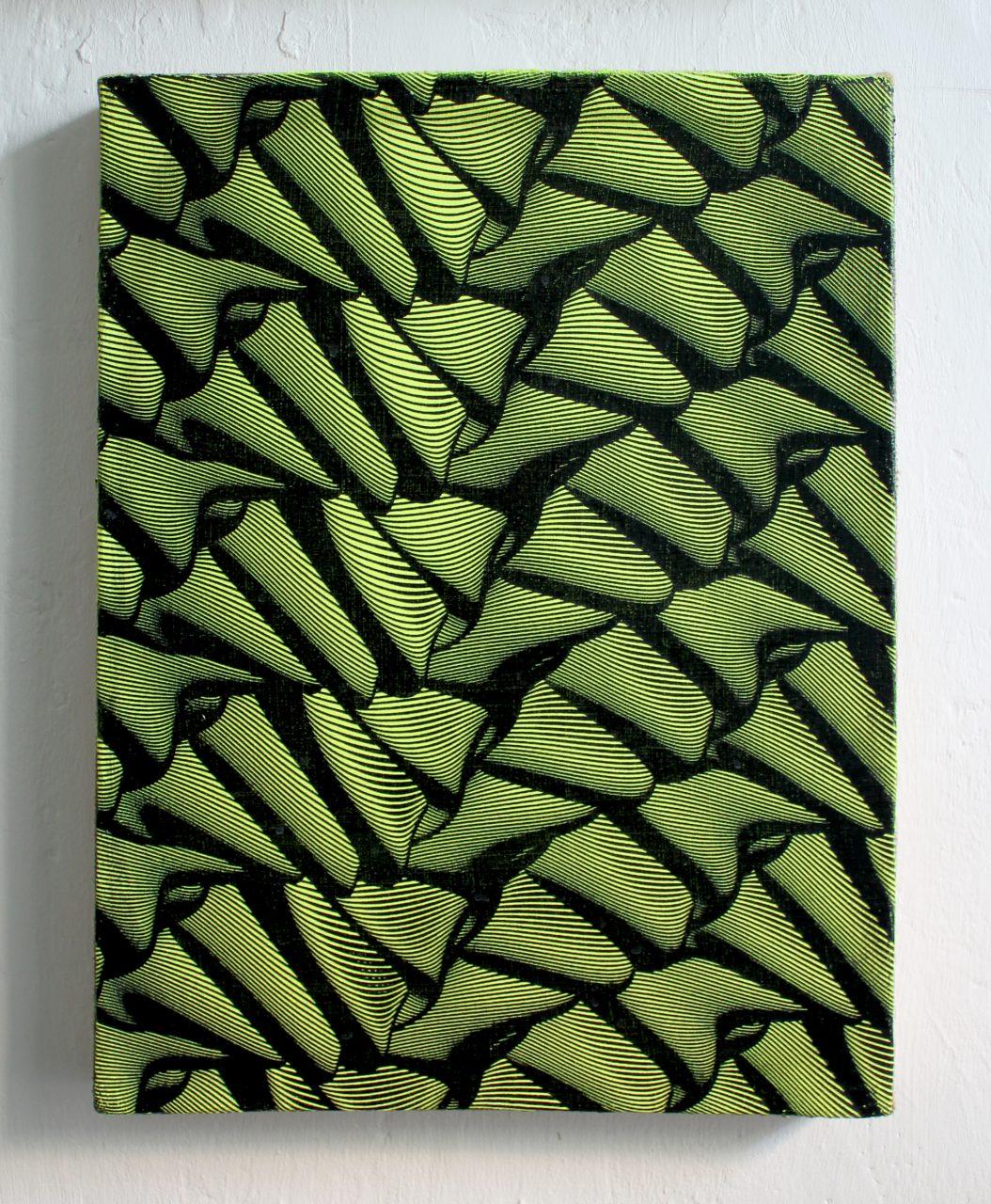 Pangolin (2020) Enamel on burlap 40 x 52 cm