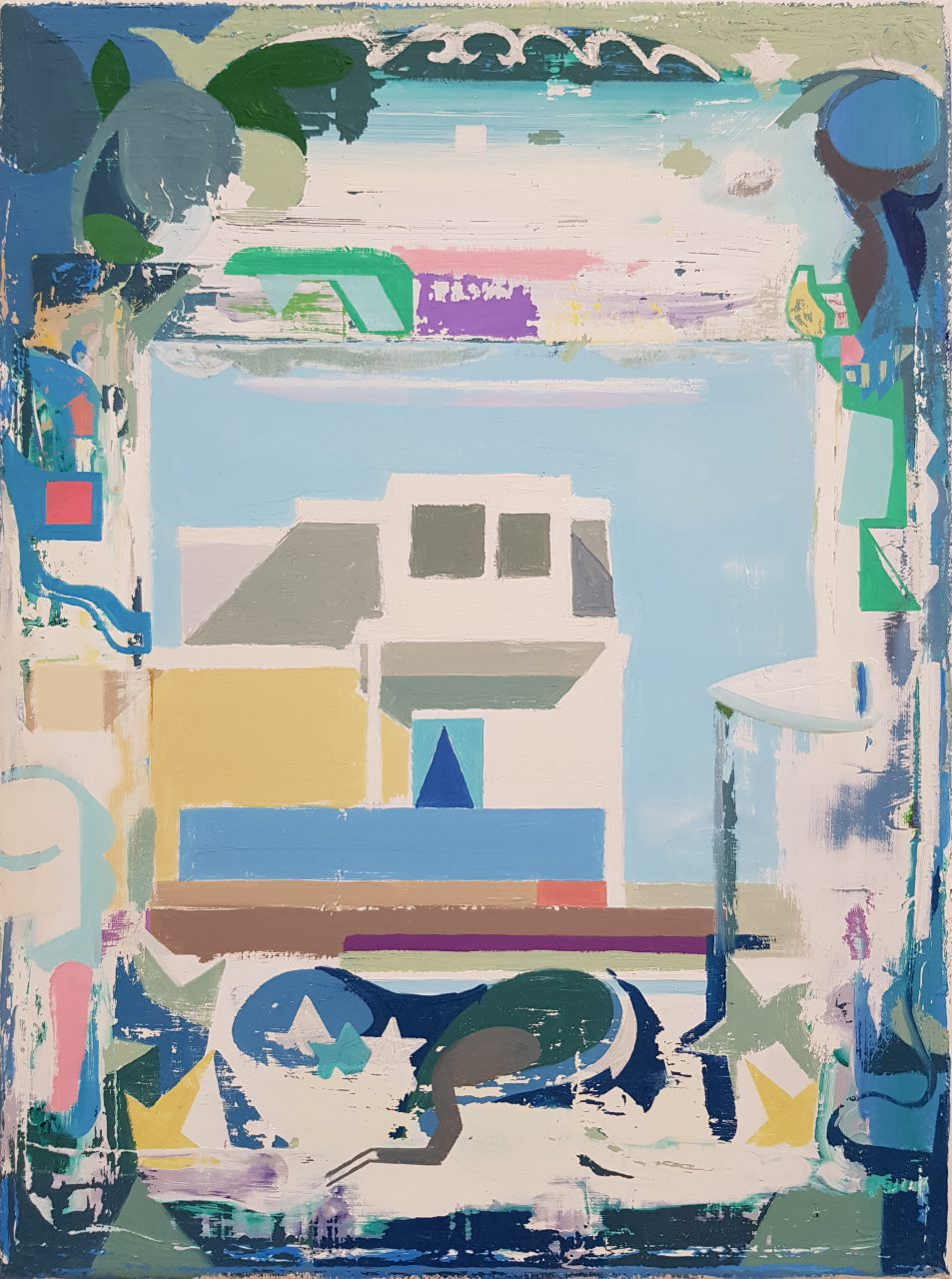 Dutch House house framed with graffiti, 2015/2018. Oil on canvas, 40x30cm