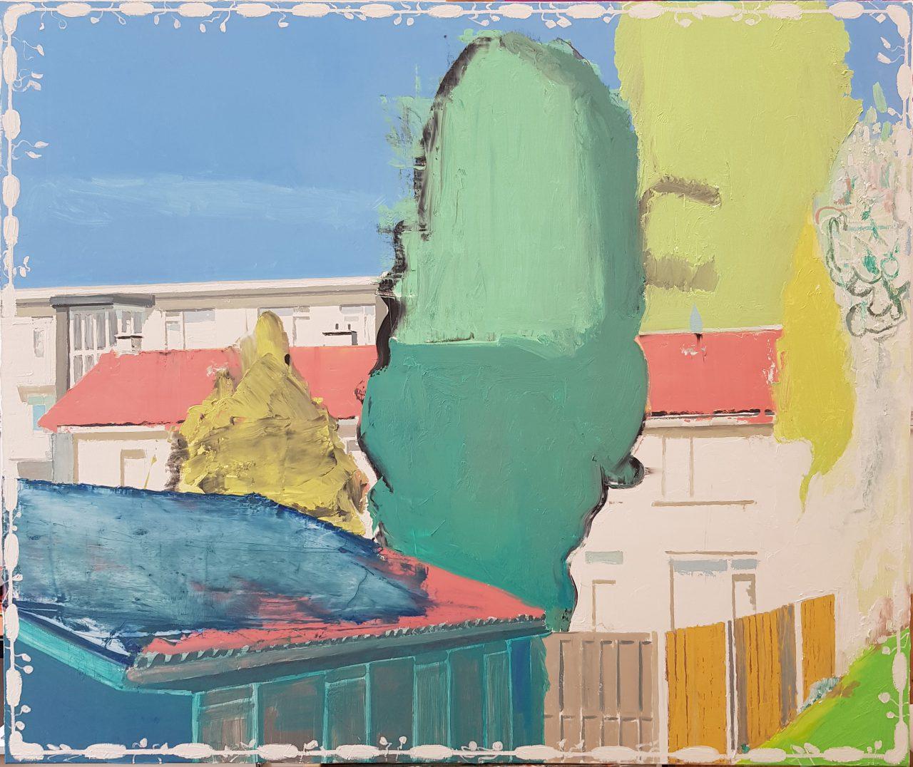 Huizen in de Vogelbuurt, Dordrecht, 2018. Oil on linen, 100x120cm