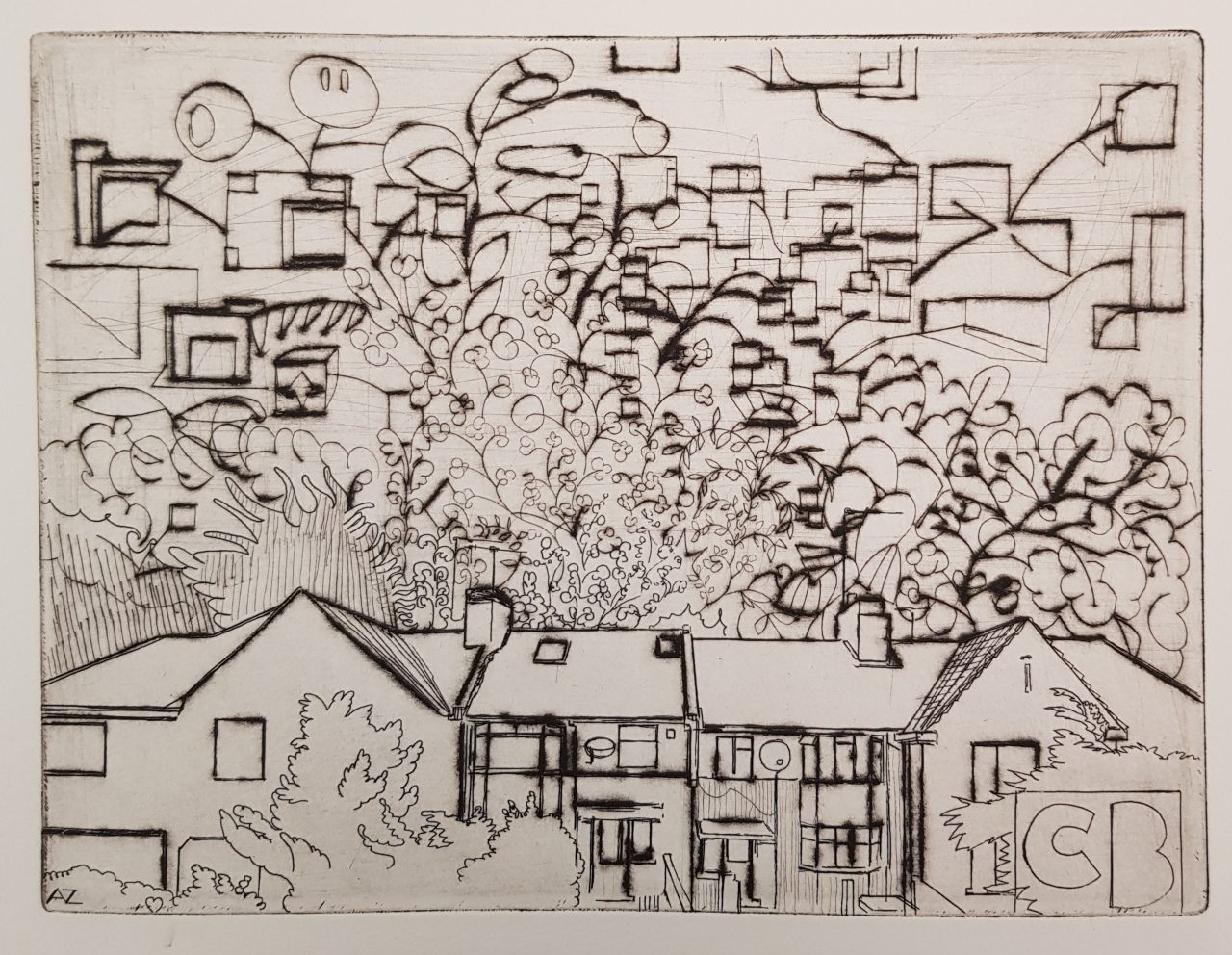 Houses in South East London, 2019. Etching/drypoint, 15x20cm