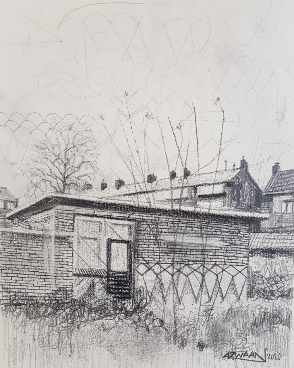 Courtyard, 2020. Pencil on paper, A5 format