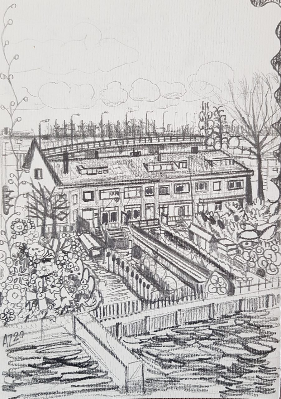 Houses at the river, 2020. Pencil on paper, A5 format