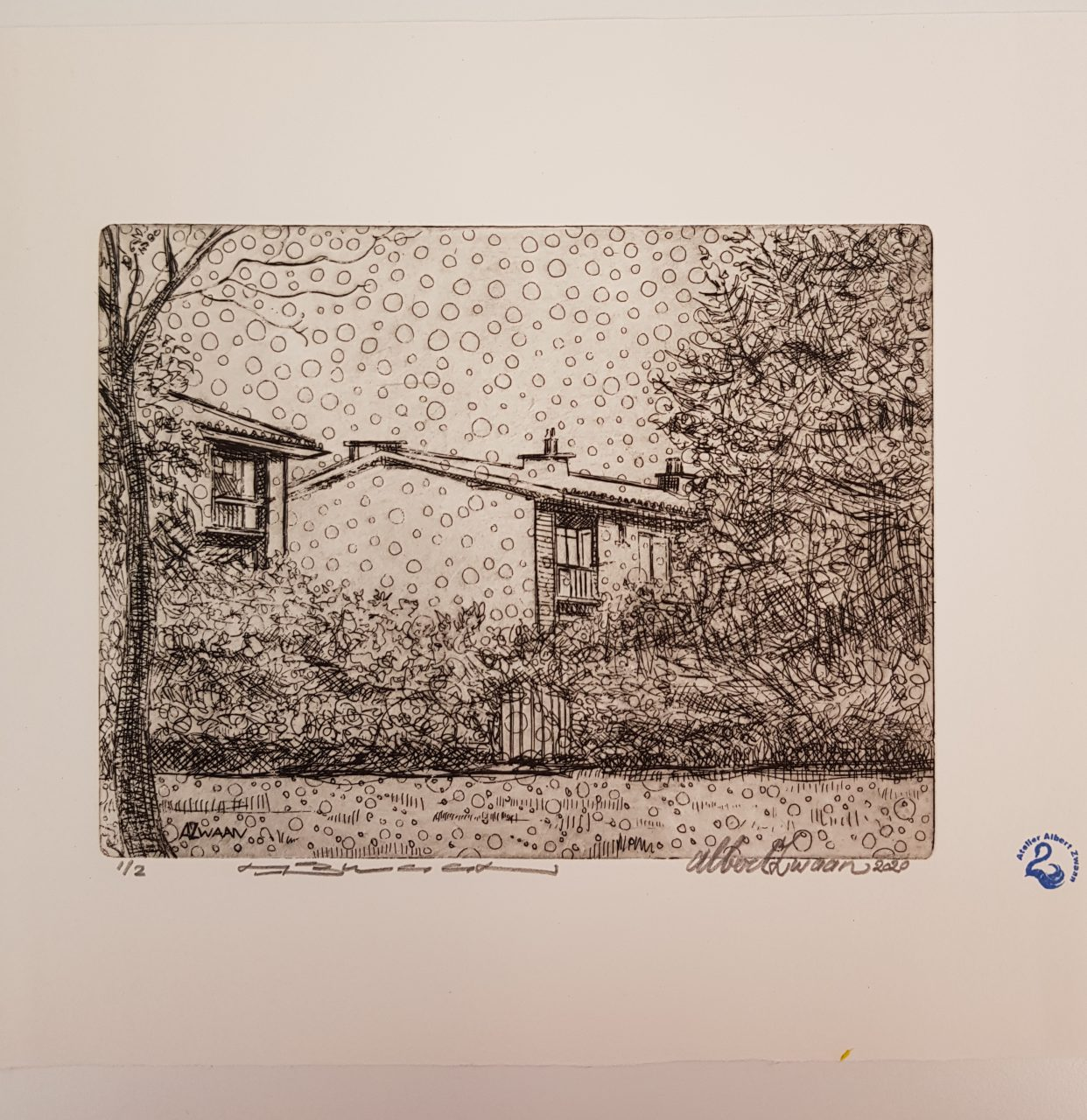 Huizen in Oud Krispijn, 2020. Etching on Hahnemuhle paper 15x19,5cm
