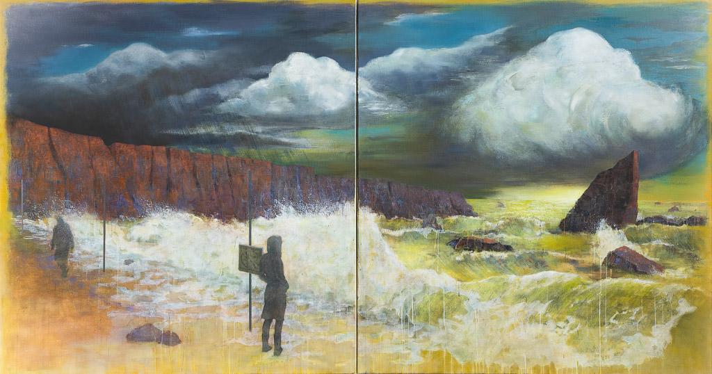Echo, 2020, 170 x 320 cm (Diptychon), oil on canvas
