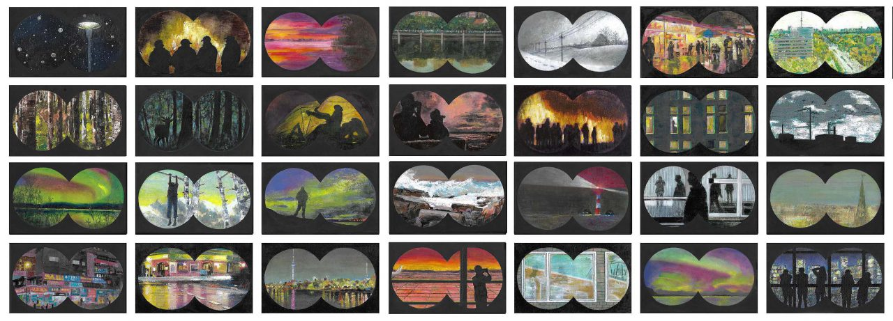 Observer, each 15 x 25 cm, oil on canvas