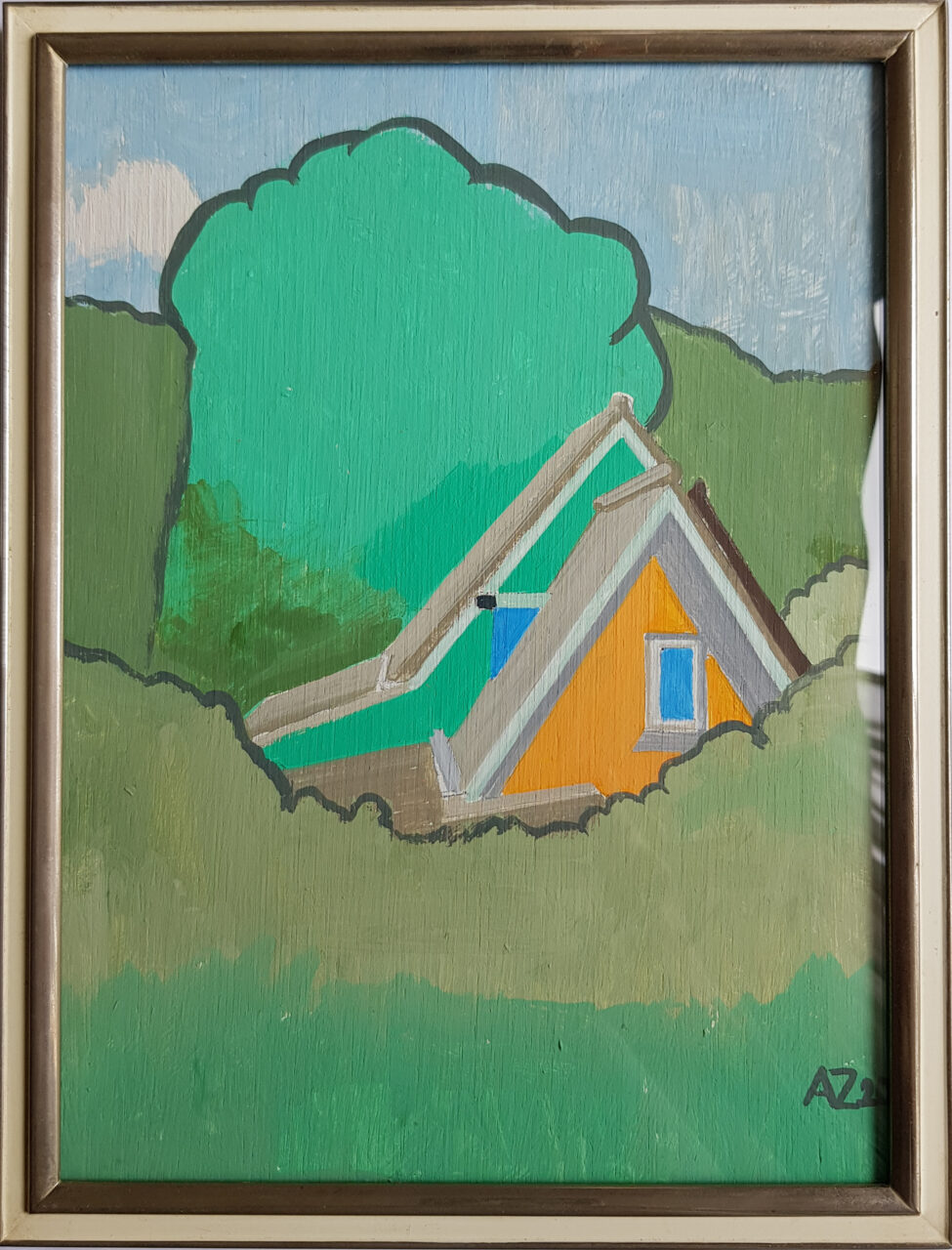 House in the Biesbosch, 2020. Vinylpaint on wooden panel, framed, 19x24cm, study