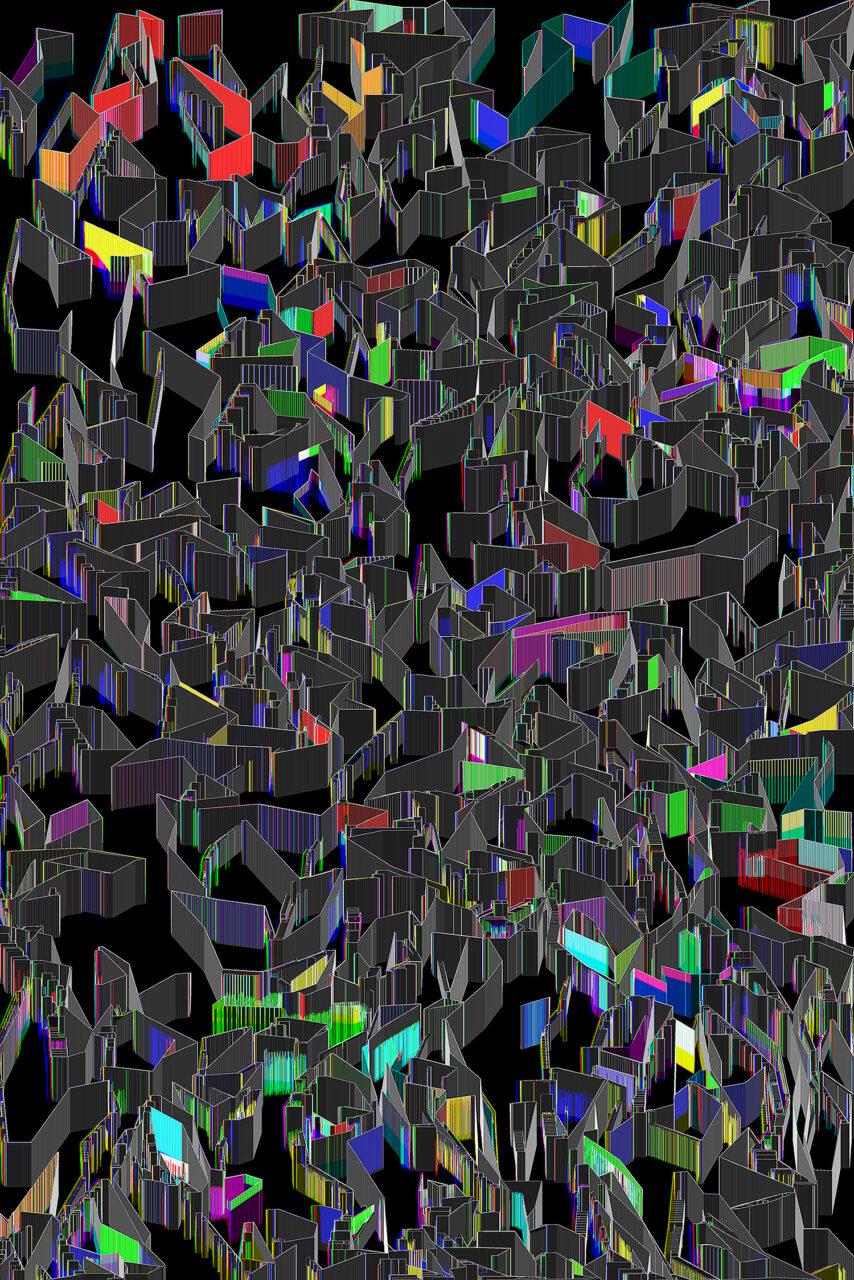 Music in the city, Experimental Fine Art Photography, Farbpigment auf Aludibond, matt, 2020, 150 x 100 cm, mit Schattenfuge gerahmt, Unikat in dieser Größe, rückseitig signiert