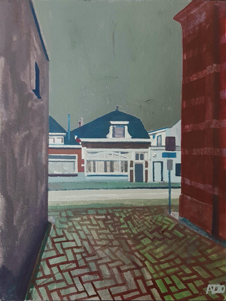 Huizen aan de Singel, 2020. Lefranc vinyl paint on paper, 24x18cm