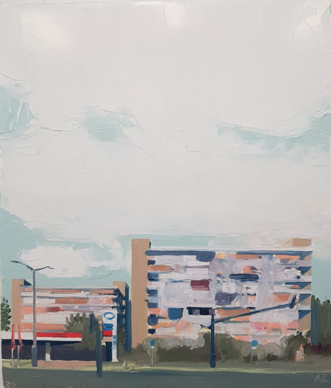 Nachtigall Platz, 2020. Oil on panel, 31x26cm.