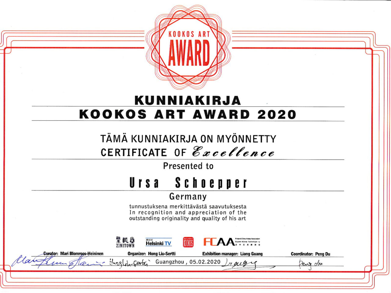 Certificate of Excellence image