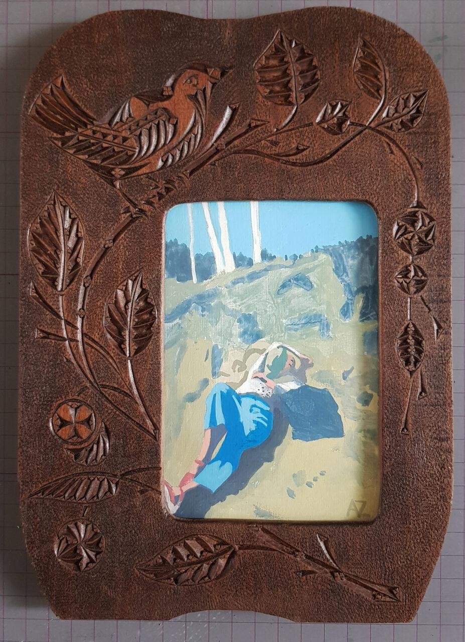 Het rustende meisje, 2020. Vinyl paint on cardboard/ in classic wooden frame, 25x17,5 cm