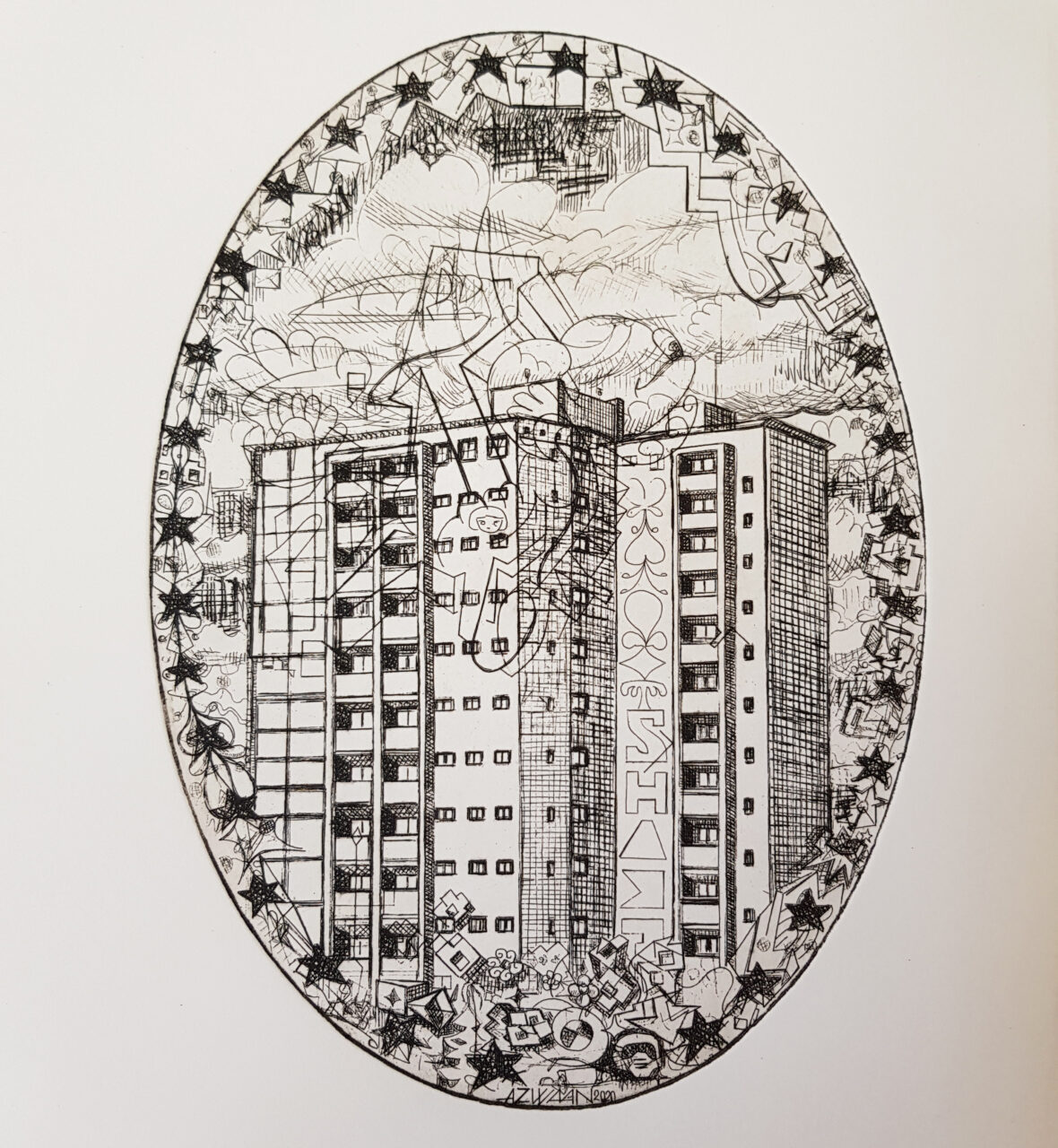 Residential Tower, 2020 4th state. Etching, Ø 23x16,5cm