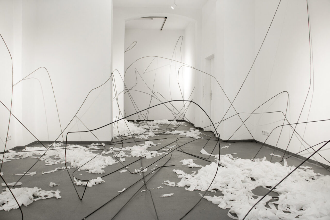 """""""Argument"""", 2020, steel and paper, dimensions variable, duo show with Thomas Rentmeister @ Diskurs, Berlin"""