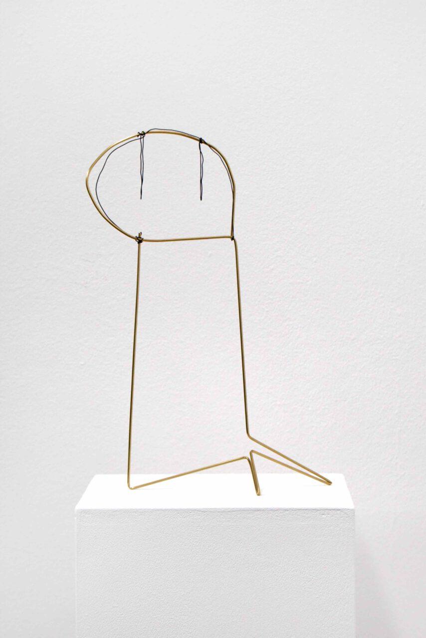 Spacedrawings_011 (Philip Mini Guston) 2020, brass, iron wire