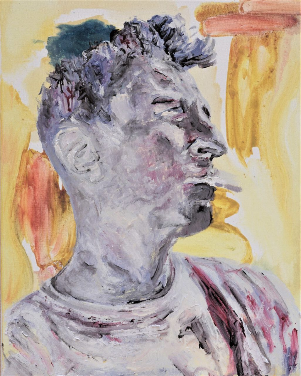 Le Dandy, 2020, Acrylic, pigments on canvas, 49,5 x 39,8 cm
