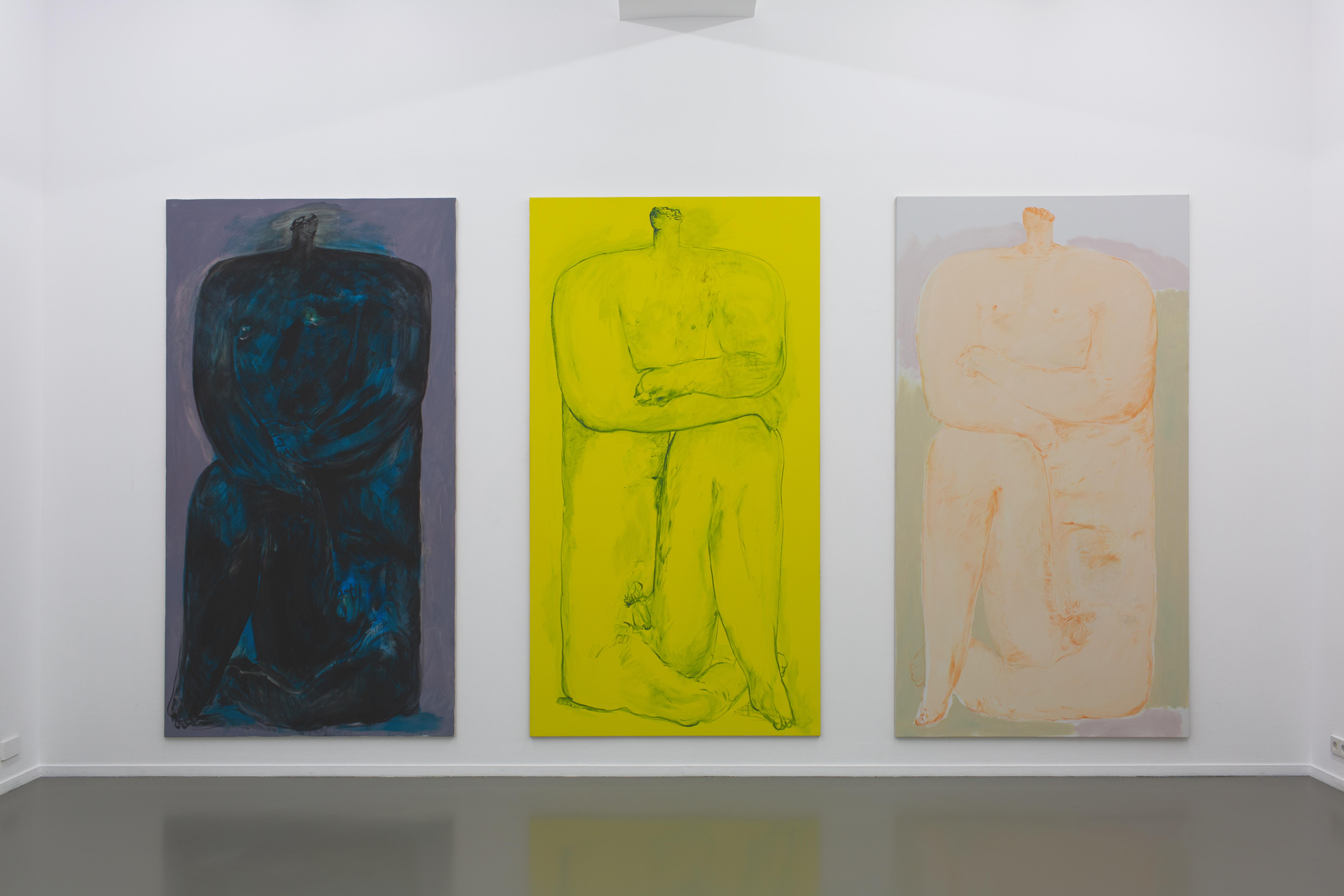 v.l.n.r. Catacomba, 2019; Barbar, 2019; Jonas, 2019 (je Öl auf Baumwolle, 260 x 140 cm) Ausstellungsansicht, «La Place» (Einzelausstellung) Centre Culturel Suisse, Paris, 2019