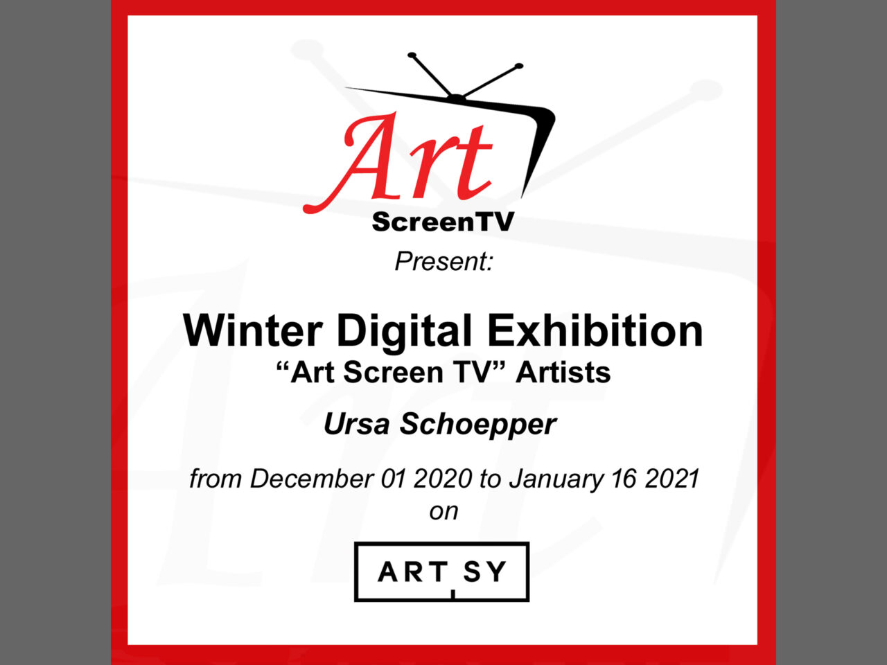 Winter Digital Exhibition Artists Art Screen TV 2020″ Artsy image