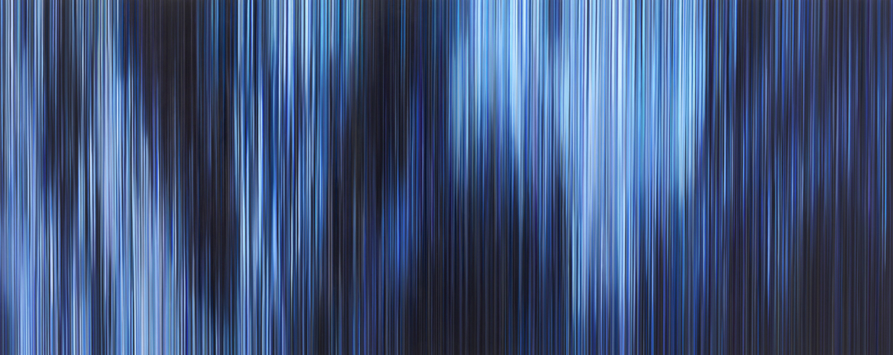Light'n'Lines No. 6 (Behind the Fall), 2019, Oil on Alu-Dibond, 80 x 200cm