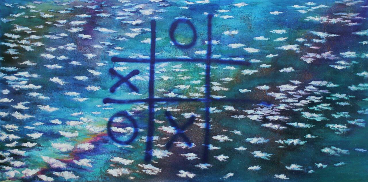 Tic Tac Toe, 2021, oil on canvas, 190x95cm
