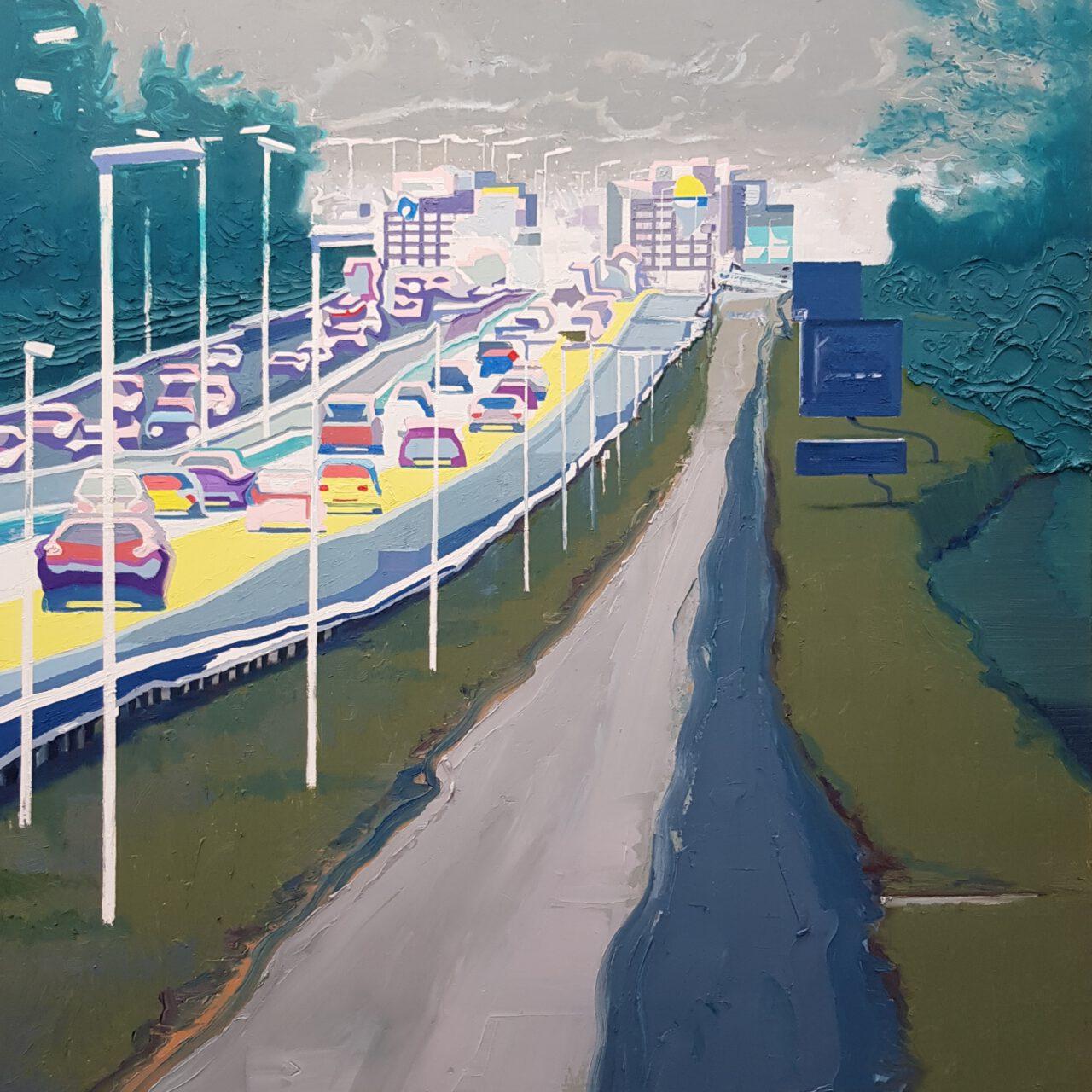 Radweg entlang der Autobahn, 2021. Oil on linen, 120x100cm