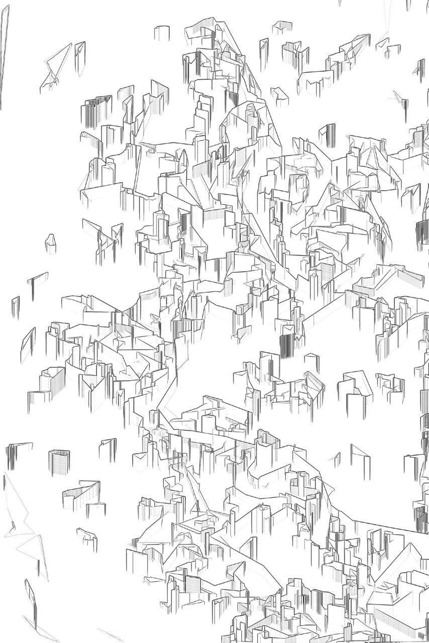 Verdichtung ländlicher Raum, 2021, Experimental Fine Art Photography, Mixed Media, das heißt, es ist keine Grafik, keine Zeichnung, die Arbeit wurde aus einer Fotografie herauskristalisiert, Bildgröße 90 cm x 60 cm, Farbpigment auf Aludibond, mit Schattenfuge, 1/3, rückseitig signiert, auf Wunsch auch auf Hahnemühlen Papier