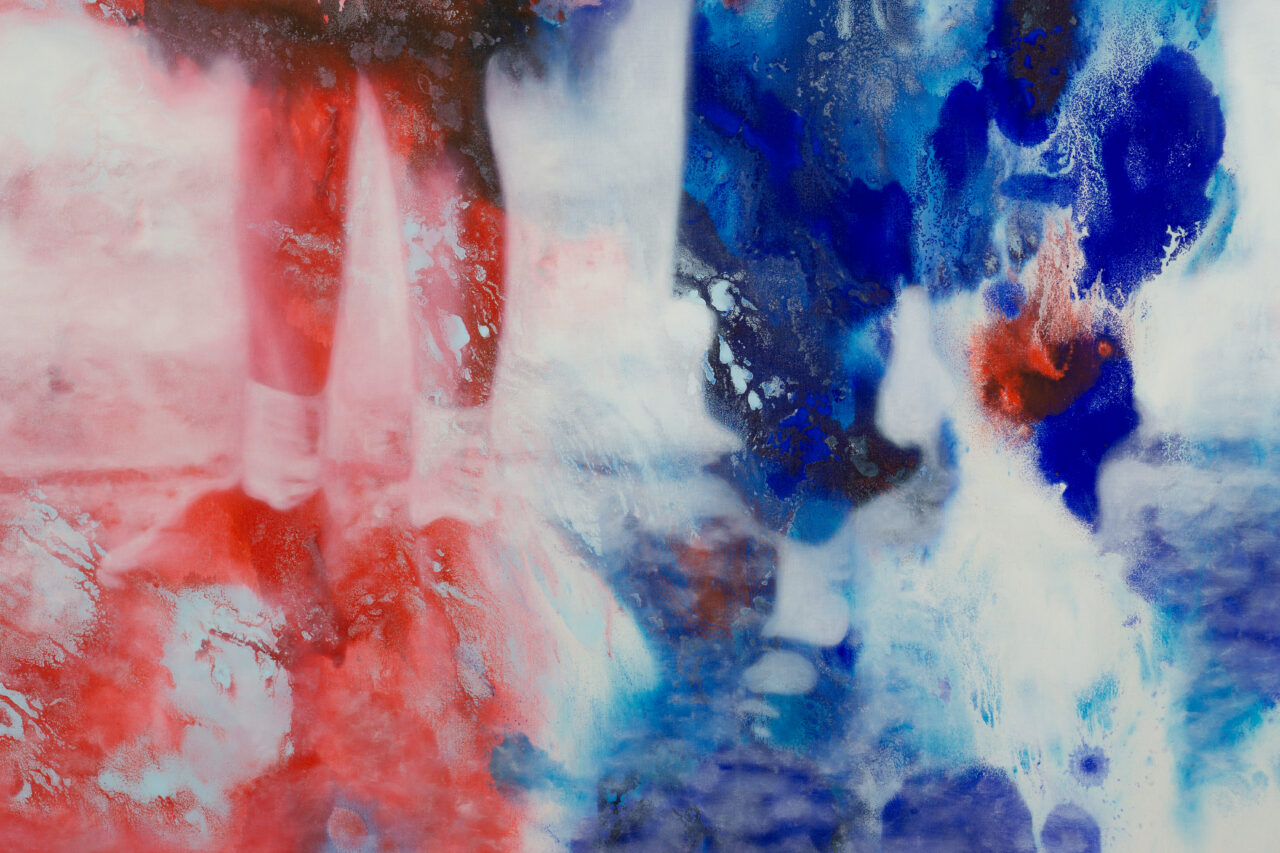 Detail, Tears of a clown (2020), Oil and Watercolor on Canvas, 230x 160 cm / 90.6 x 63 in.
