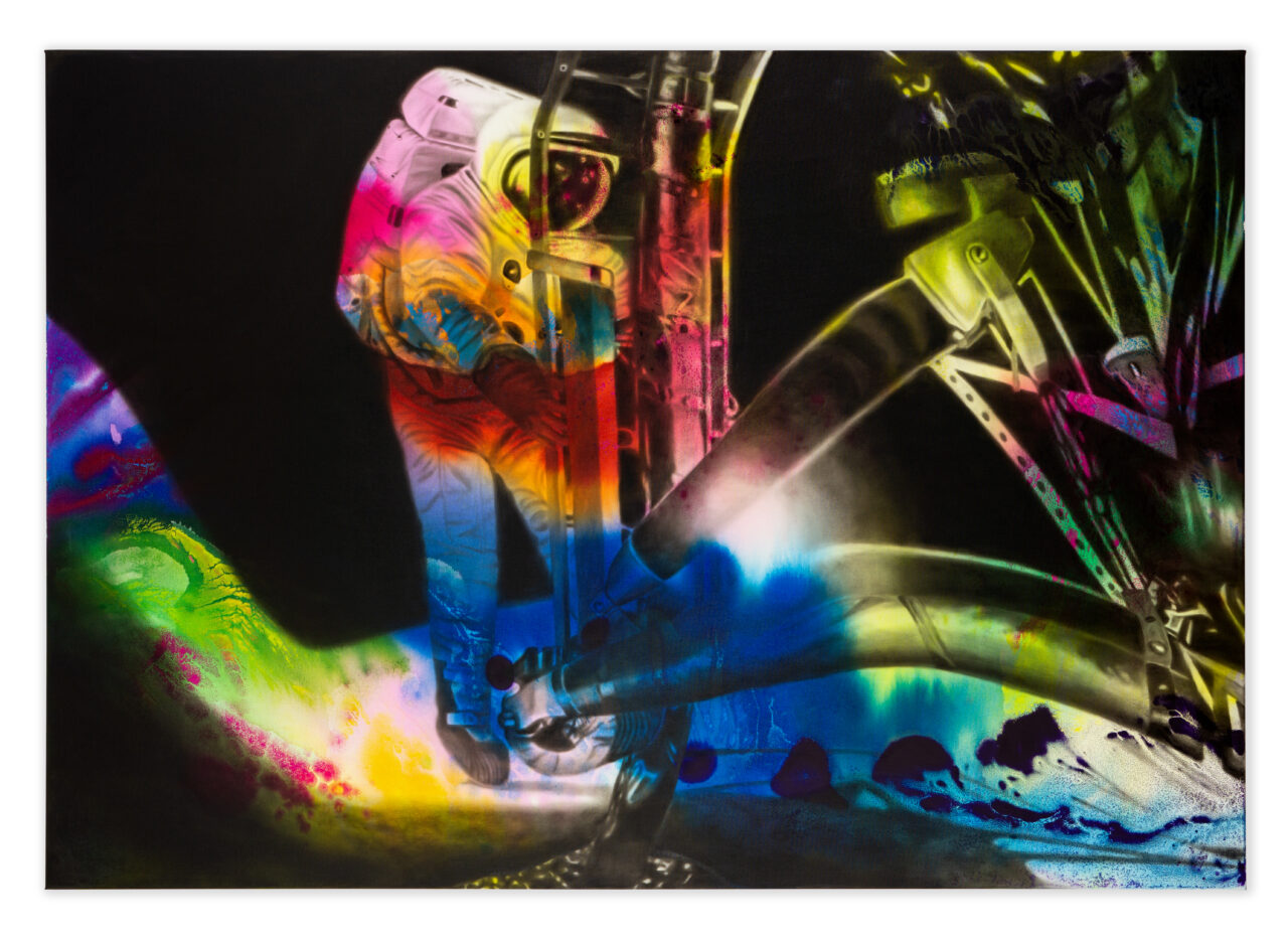 Where is this light coming from (2021), Oil and Watercolor on Canvas, 140 x 200 cm / 55.1 x 78.7 in.