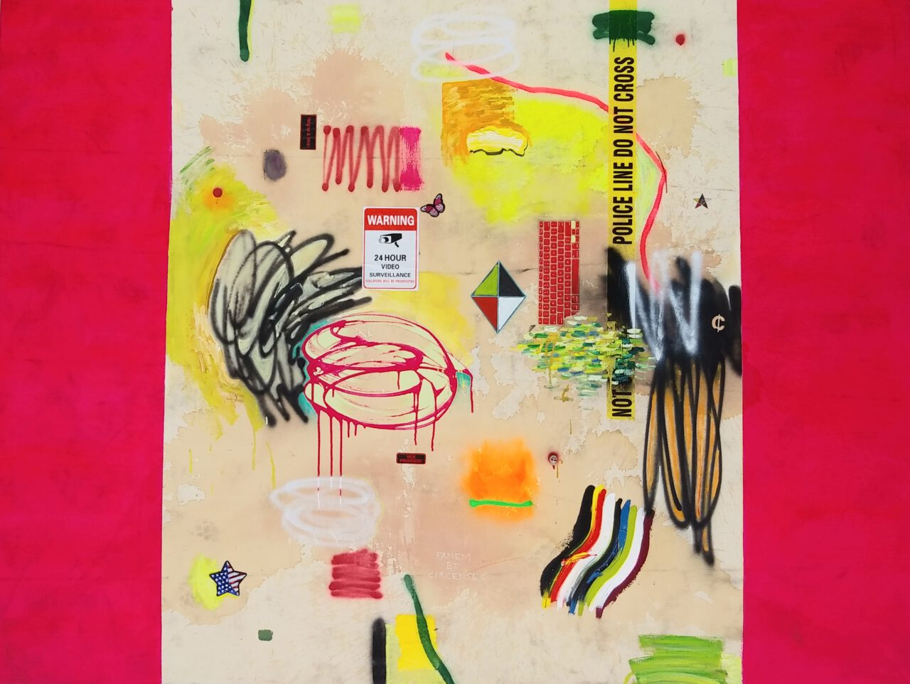 Empire series - MiT#132 (Panem et Circenses - magenta). 2020. oil, acrylic, spray paint, tea, coffee, wine, motor oil, rubber, marker pen, patch, sticker, leather glove, denim, plastic tape, metal ornament skull, security camera on canvas. 72 x 96 inches