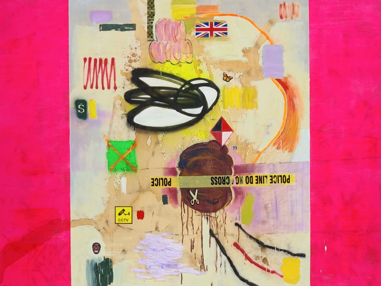 MiT#134 (Instrumentum Regni - pink). 2020. oil, acrylic, spray paint, tea, coffee, wine, motor oil, rubber, marker pen, patch, sticker, leather glove, denim, plastic tape, metal ornament skull, security camera on canvas. 72 x 96 inches