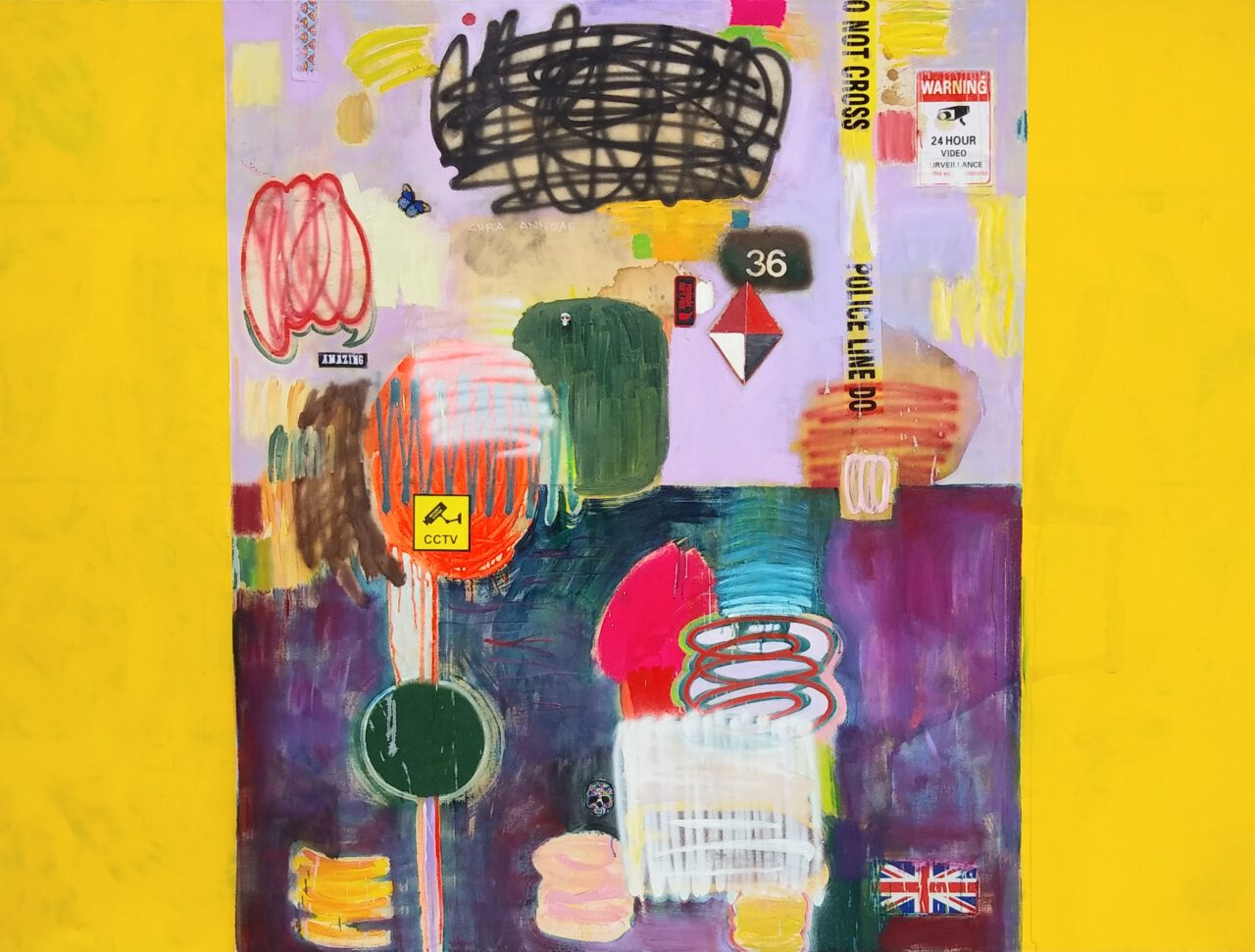 MiT#135 (Cura Annonae - yellow). 2020. oil, acrylic, spray paint, tea, coffee, wine, motor oil, rubber, marker pen, patch, sticker, leather glove, denim, plastic tape, metal ornament skull, security camera on canvas. 72 x 96 inches