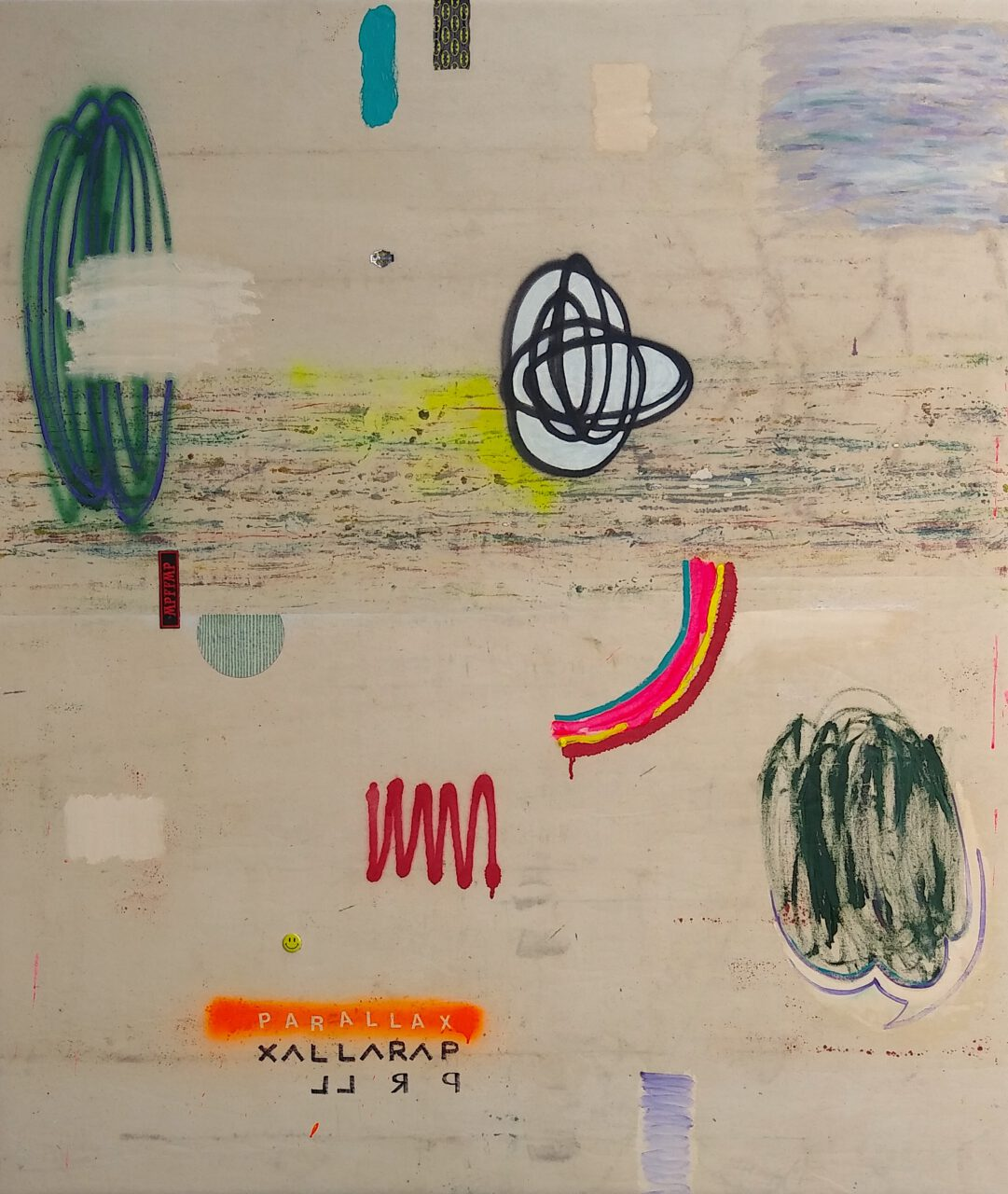 Parallax #1. 2021. oil, spray paint, acrylic, marker, collage elements on canvas over panel. 63 x 53 inches