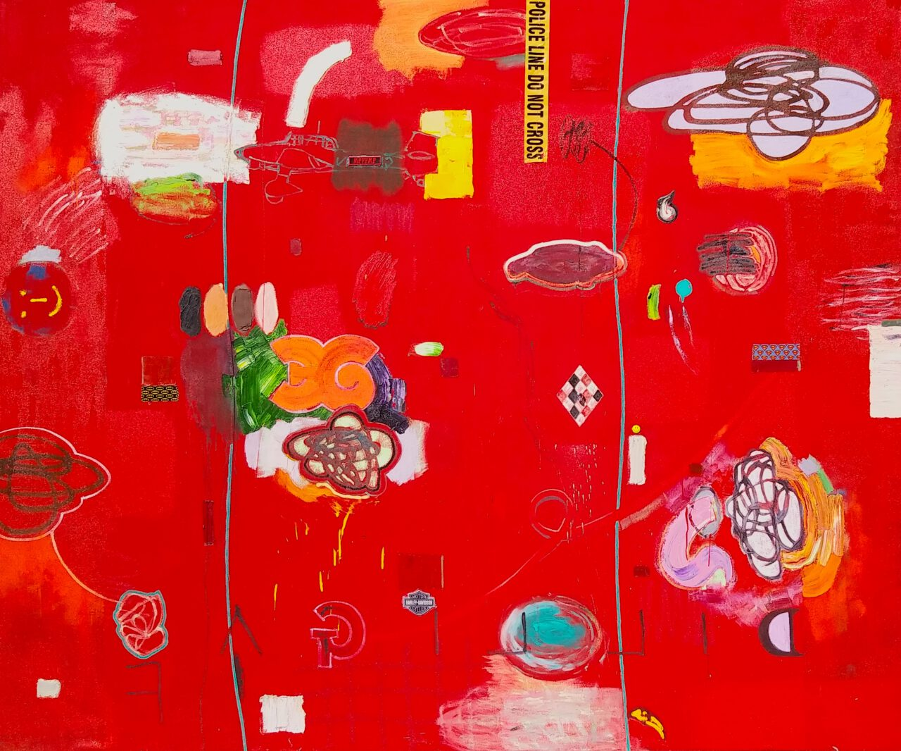 Parallax series - Parallax #4 (big red one). 2021. oil, acrylic, spray paint, plastic tape, sticker, metal ornament. 94 x 113 inches