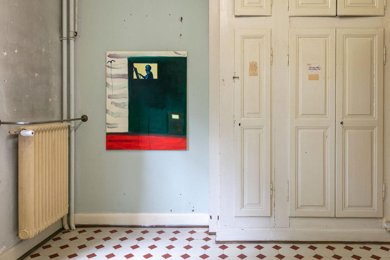 Early birds on a Sunday,2021,Ausstellungsansicht Villa Renata: 110 × 90 cm, Öl und Acryl auf Leinwand (Foto: © Julian Salinas)