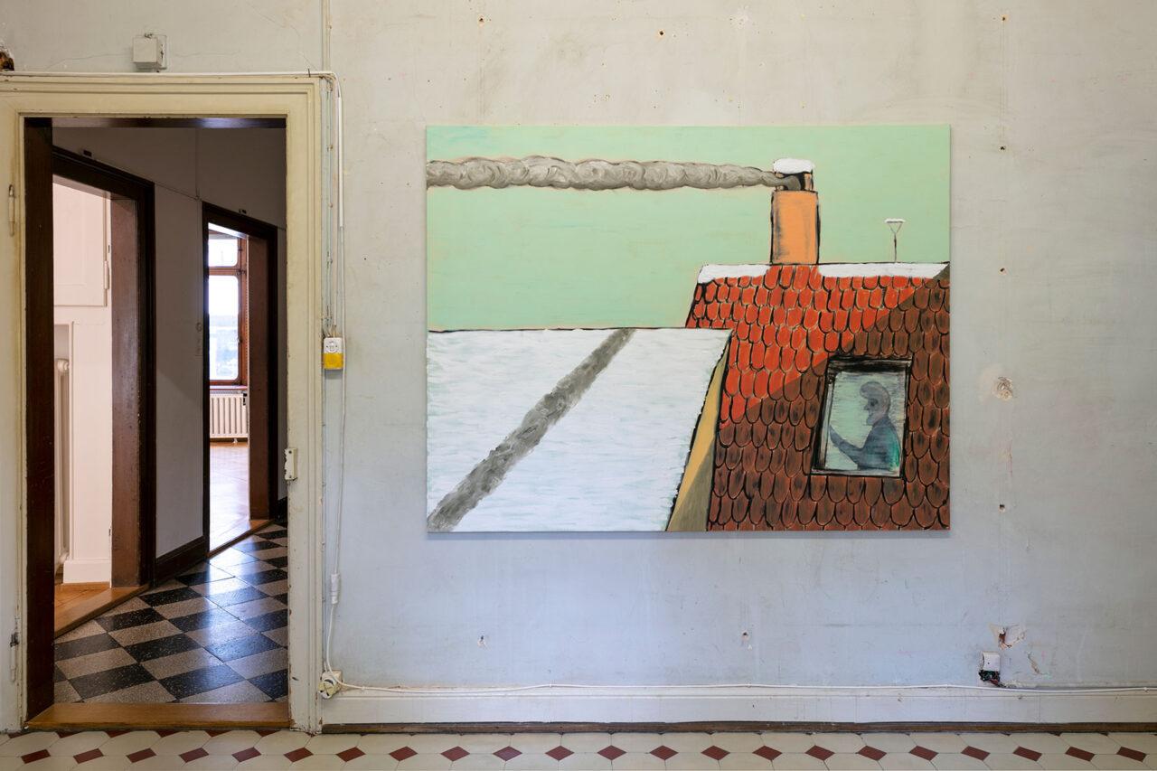 One ear but still no mouth,2021,Ausstellungsansicht Villa Renata: 140 × 170 cm, Öl und Acryl auf Leinwand (Foto: © Julian Salinas)
