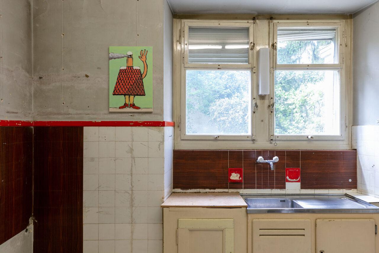 So wahr ich hier stehe, rauche und winke,2021,Ausstellungsansicht Villa Renata: 60 × 40 cm, Öl und Acryl auf Leinwand, (Foto: © Julian Salinas)