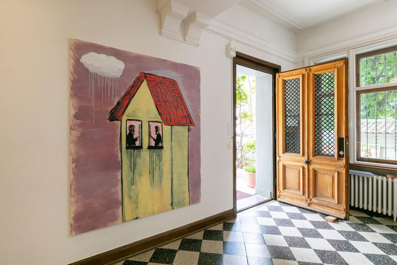 Le finestre che piangono,2021,Ausstellungsansicht Villa Renata: 180 × 150 cm, Öl, Tusche und Acryl auf Leinwand (Foto: © Julian Salinas)