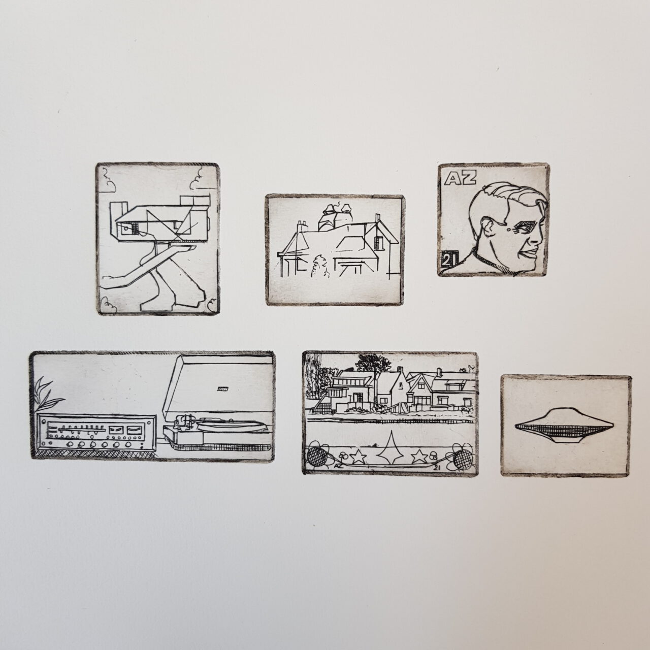 6 mini etchings on 1 sheet, 2021