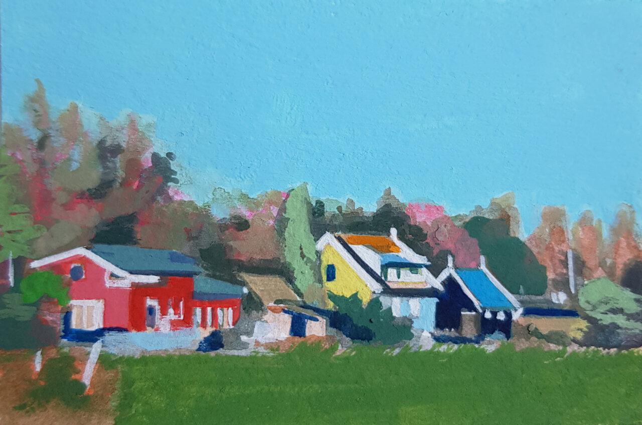 Huizen aan de Wieldrechtse Zeedijk, 2021. Vinyl Paint on paper, 6x9cm.