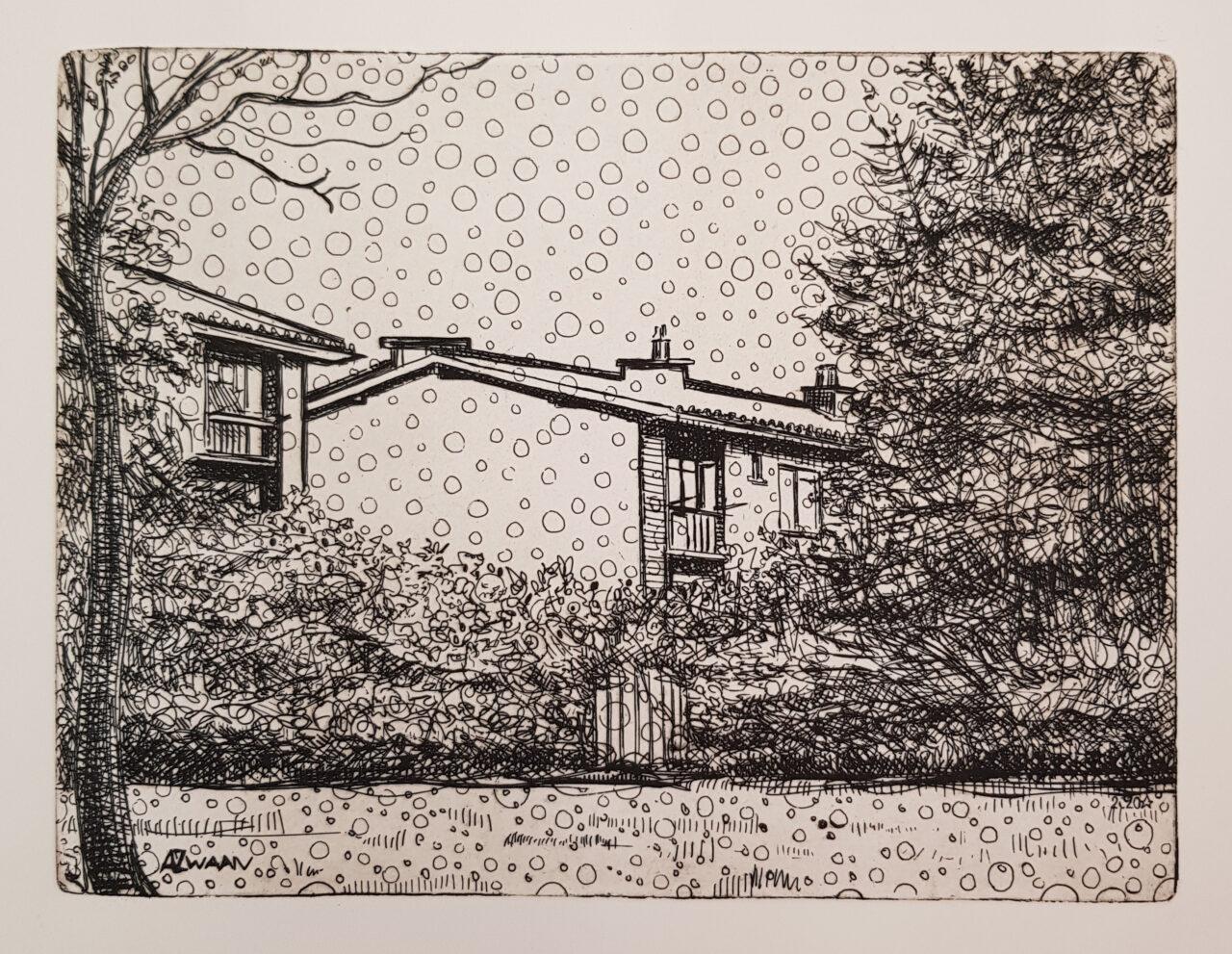 Houses in Krispijn, 2020, etching, 15x19,5 cm