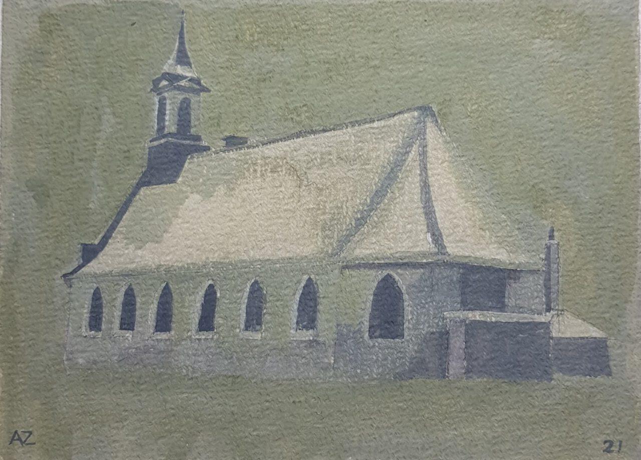 Kerkje in Dubbeldam, 2021. Gouache on paper, 12,5x17cm