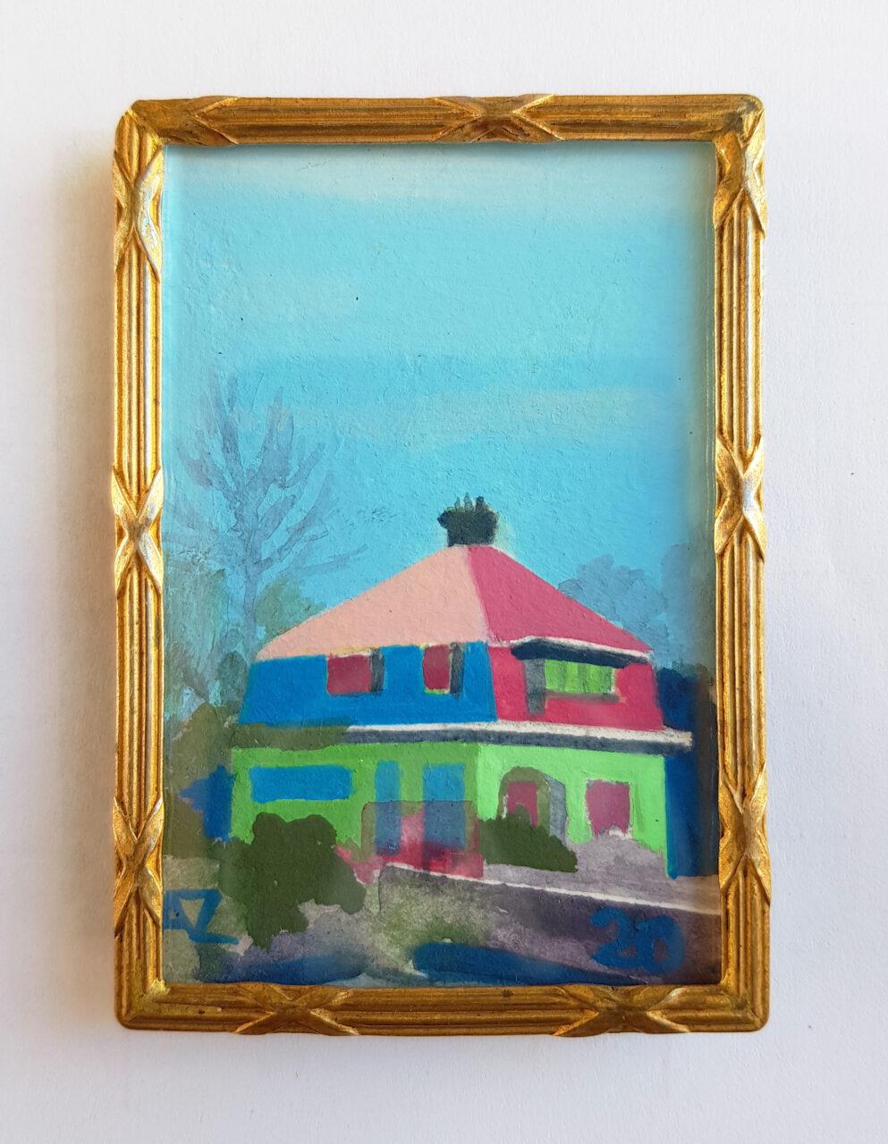 Mini painting in an antique 1921 frame. Title: Huis aan de Reeweg 2021, vinyl paint on paper, 6,5x4,5cm.