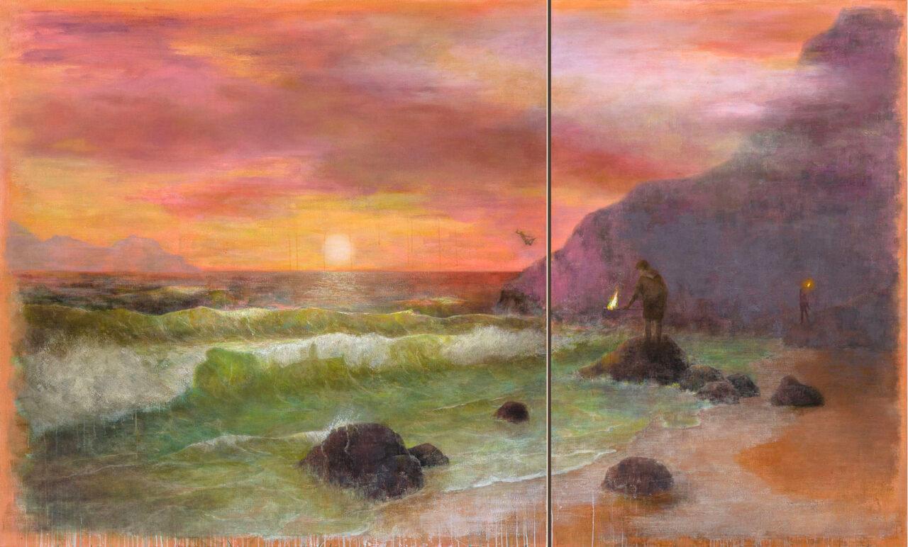 Dritter Versuch das Meer anzuzünden (Diptychon), 2021, 170 x 280 cm, oil on canvas