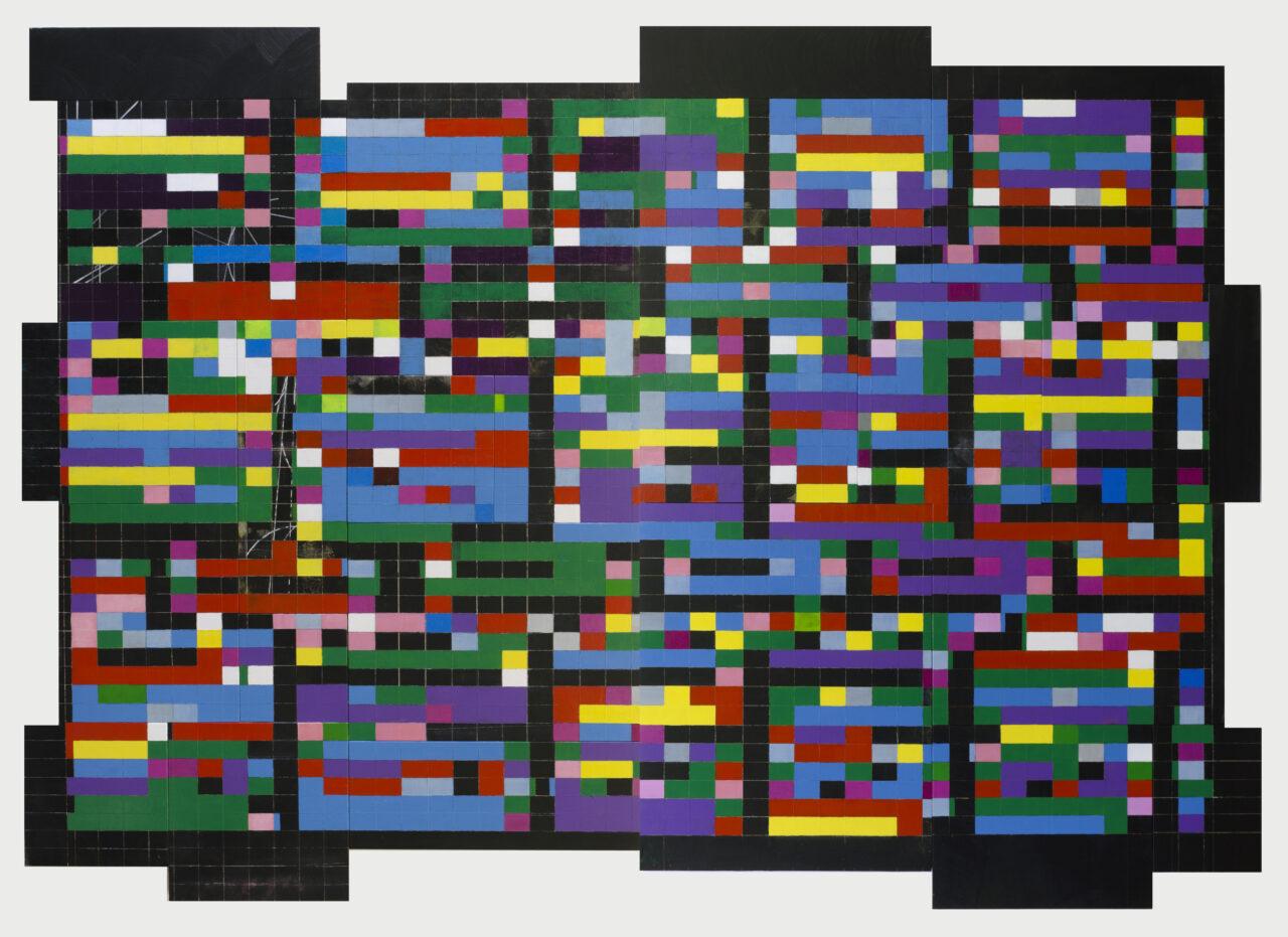 ?Undef'd Function 3495 ( 2014 ) Enamel & Acrylic on Wood , 24 panels - 120 x 168 cm