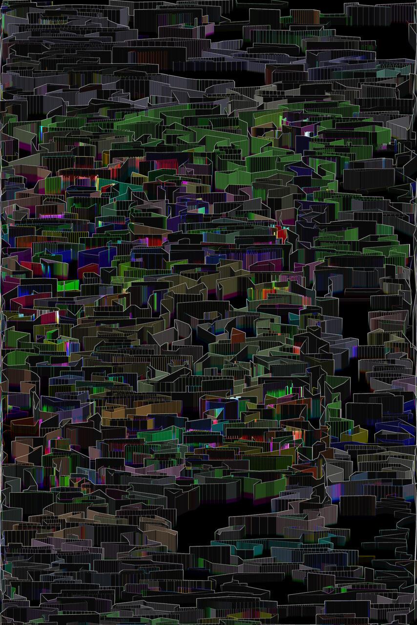 Stadtspeicher, 2021, 80 x 120 cm, Experimental Fine Art Photographie, Mixed Media, Farbpigment auf hochwertigem Fotopapier auf Aludibond, matt, mit Schattenfuge gerahmt, 3 Exemplare, rückseitig signiert