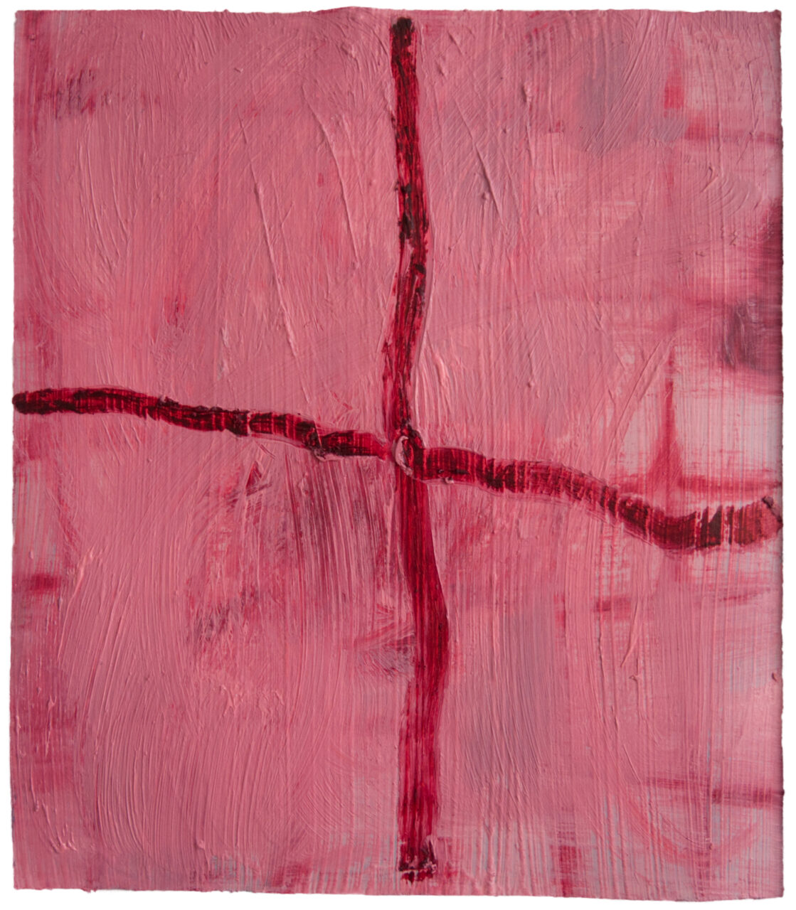 cochenille grid, 2021, oil on paper, 31,5 x 27 cm