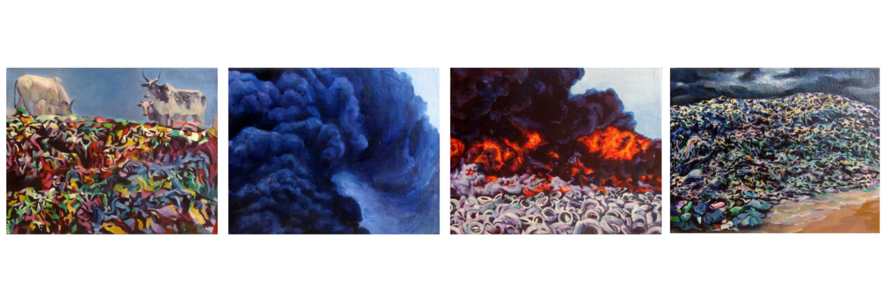 Earth, Air, Fire, Water, 2021, oil on canvas, 4 paintings 24x30cm