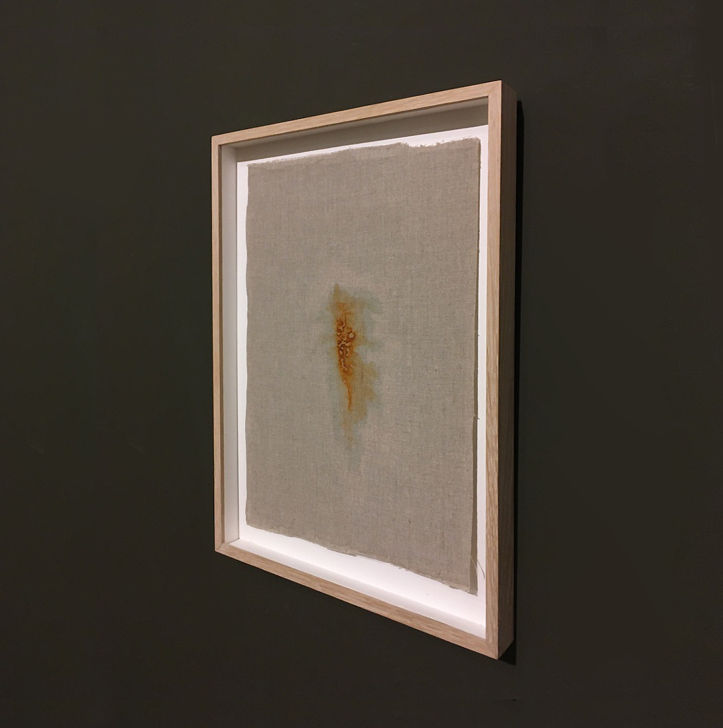 TIME WILL OPEN BY ITSELF (I) after Olav H Hauge, 2021,  Belgian linen with oxide of iron  43.5 x 31.0 cm